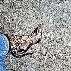 Rhinestone/Fishnet Clear Pumps